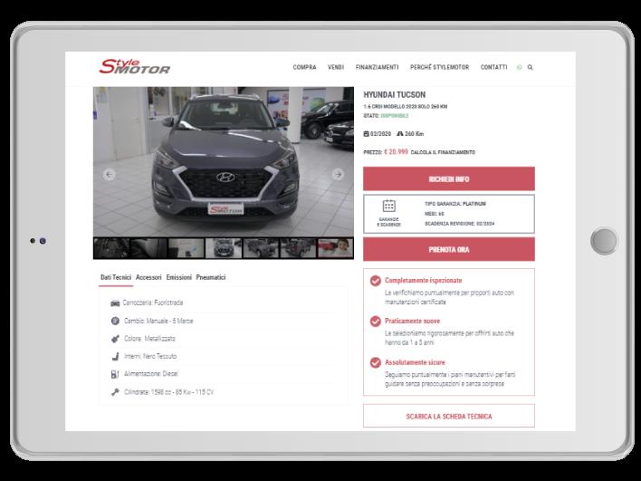 Stylemotor - dettagli auto su tablet